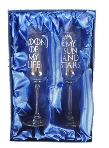 "Game of Thrones Inspired ""My Sun and Stars, Moon of My Life"" Pair of Champagne Flutes"